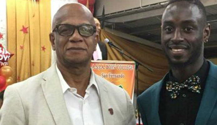 T&T World Championships gold medalist Jereem Richards, with San Fernando Mayor Junia Regrello, at ASJA Boys' College San Fernando graduation over the weekend. PICTURE CAROL CARVALHO
