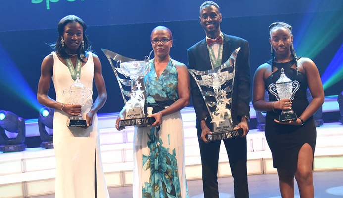 Awardees pose for a photo during Frist Citizens 2018 Sports Awards at Queen Hall St.Anns. PHOTO. BY, KERWIN PIERRE.