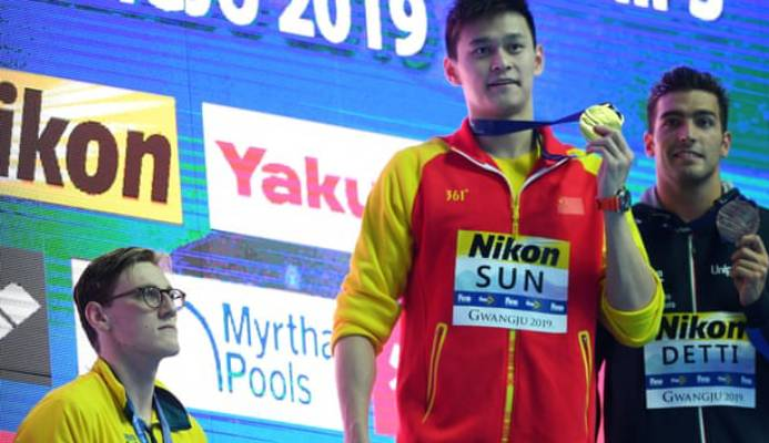 Australia's Mack Horton protested against China's Sun Yang at last year's swimming world championships. Photograph: Quinn Rooney/Getty Images