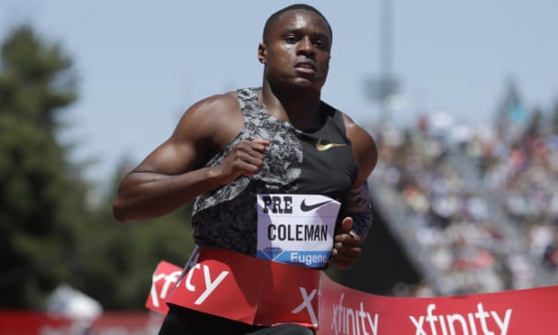 Christian Coleman wins the men's 100m race at a Prefontaine Classic Diamond League athletics meeting in California. Photograph: Jeff Chiu/AP