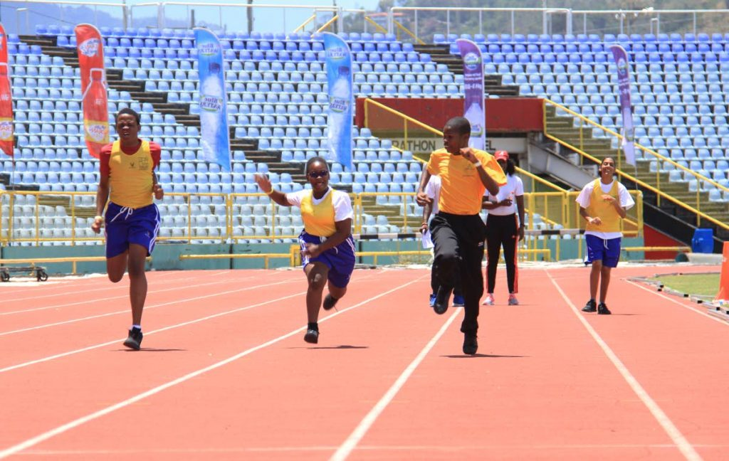 In this May 18, 2019 file photo, (from left) K-Sean Hercules, Yinga Commissiong, Everton Redman and Jodie Jebodh participate in a race during the Special Olympics Day, at the Hasely Crawford Stadium, Mucurapo. PHOTO BY AYANNA KINSALE. - Ayanna Kinsale
