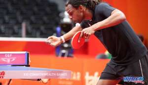 Photo: Dexter St Louis serves during a table tennis contest with Northern Ireland at the Gold Coast 2018 Commonwealth Games on 6 April. (Copyright Allan V Crane/CA-Images/Wired868)